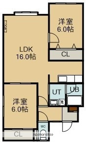 北海道北斗市久根別2丁目の賃貸アパートの間取り