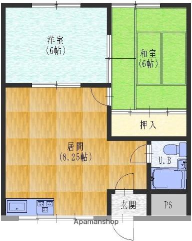 晴見荘[2階右号室]の間取り