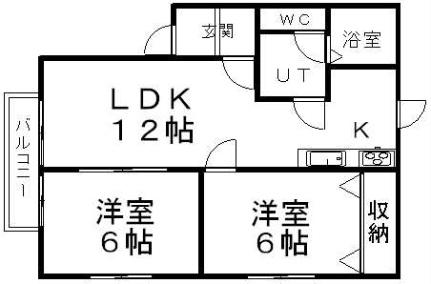 北海道札幌市南区澄川四条5丁目の賃貸アパートの間取り