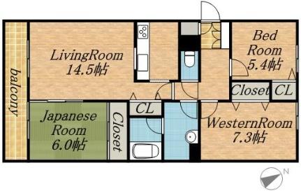 北海道札幌市中央区南二十条西8丁目の賃貸マンションの間取り