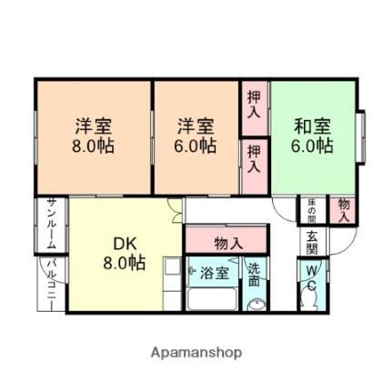 サンシャインEBARA A[103号室]の間取り