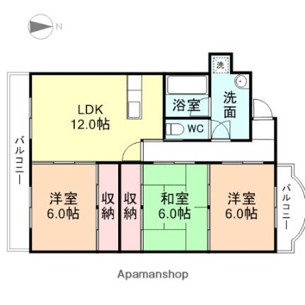カーサ富岡[311号室]の間取り