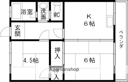 印田町大森文化[22号室]の間取り