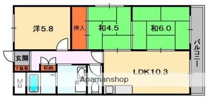 香里ヶ丘Ⅱ番館[201号室]の間取り