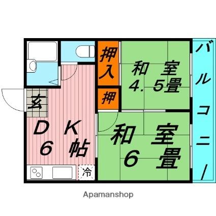 山本ハイツA・B[B204h号室]の間取り