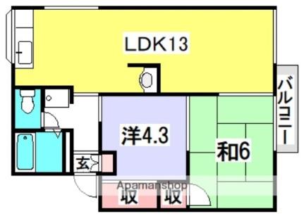 新田ハイツA棟[A102号室]の間取り