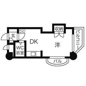 OMレジデンス円山[1DK/24.75m2]の間取図