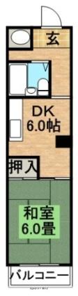シャンボール植物園第2[1DK/31.21m2]の間取図
