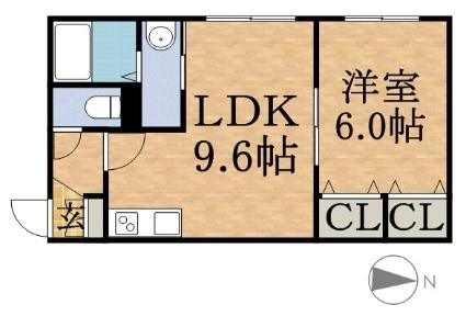 ラ・ルーチェ山鼻[1LDK/36.4m2]の間取図