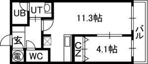 アルファタワー札幌南4条[1LDK/37.57m2]の間取図