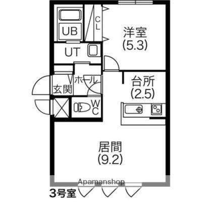 ペラッツィ梁川[1LDK/38.28m2]の間取図