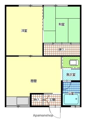 グリーンハイツA・B[2LDK/42.14m2]の間取図