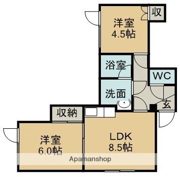 北海道札幌市豊平区月寒西三条9丁目[2LDK/39.6m2]の間取図