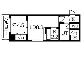エステラ旭ヶ丘[1LDK/36.24m2]の間取図