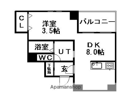北海道札幌市中央区南十四条西14丁目[1LDK/27.12m2]の間取図