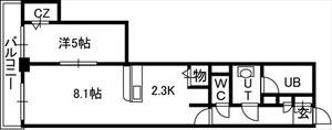 PRIME URBAN札幌 RIVER FRONT[1LDK/38.03m2]の間取図