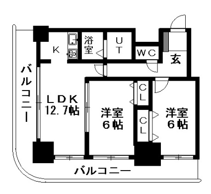 ティアラタワー中島倶楽部(Ⅰ-Ⅳ)[2LDK/61m2]の間取図