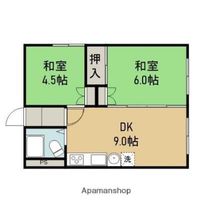仙石マンション[2DK/40.87m2]の間取図