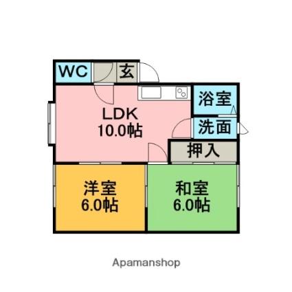 みさきアパートB[2LDK/52.65m2]の間取図