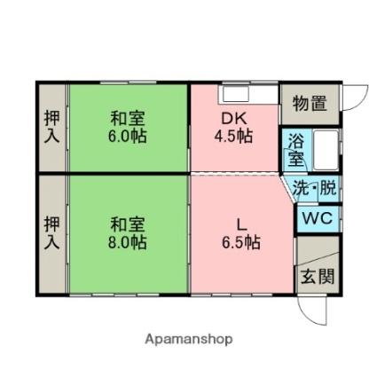 北海道室蘭市高砂町2丁目[2LDK/57.96m2]の間取図