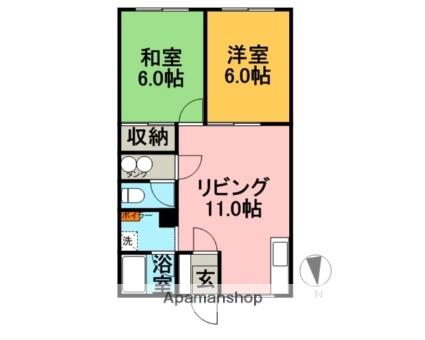 北海道滝川市本町3丁目[2DK/49.7m2]の間取図