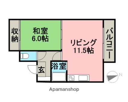 Tsumotoクリーンハイツ[1DK/40.25m2]の間取図