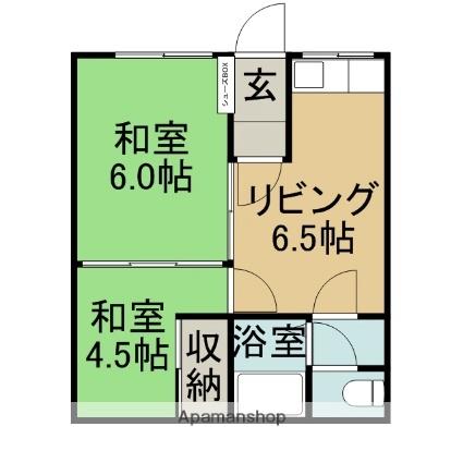 大坂マンション[2DK/34.8m2]の間取図