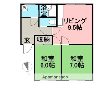 東栄コーポ[2DK/47.92m2]の間取図