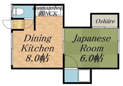 ひかり荘[1LDK/24.75m2]の間取図