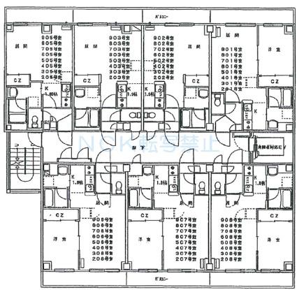 セントポーリア拾番館[1LDK/32m2]の配置図