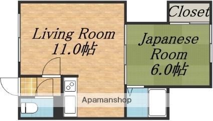 さかえ荘[1LDK/24.75m2]の間取図