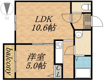 ハルトラーテ大通[1LDK/34.29m2]の間取図
