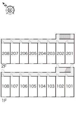レオパレス篠路7条壱番館[1K/23.18m2]の配置図