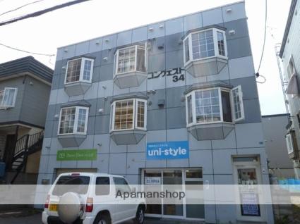 北海道札幌市東区、新道東駅徒歩2分の築27年 3階建の賃貸アパート