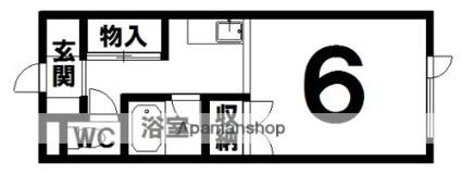 コーポカワイ[1R/24.6m2]の間取図