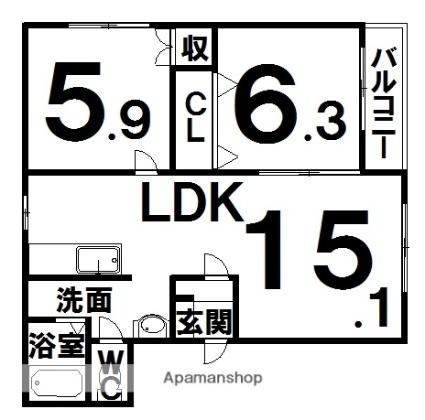 ヒーローズ[2LDK/57.85m2]の間取図