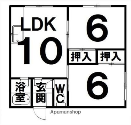 ハイツやまもと[2LDK/45.36m2]の間取図