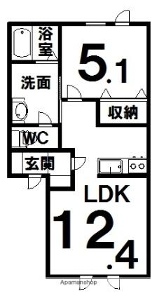 ラ・プレーヌ[1LDK/41.22m2]の間取図