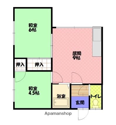 日成マンションA[2DK/42.1m2]の間取図