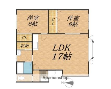 メゾン豊成[2LDK/56.5m2]の間取図