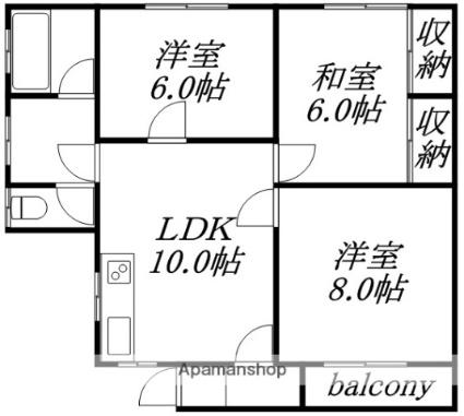 コスモ赤井川[3LDK/72m2]の間取図