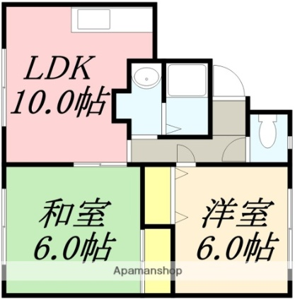 コーポサイトウB棟[2LDK/46.5m2]の間取図