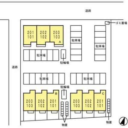 グランツ B[1LDK/31.58m2]の配置図