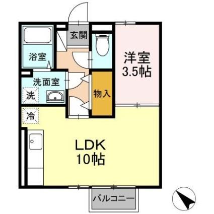 セジュール沢里Ⅱ[1LDK/35.1m2]の間取図