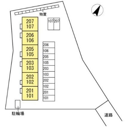 セジュール沢里Ⅱ[1LDK/35.1m2]の配置図