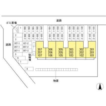 マンションタケイシ[2LDK/55.48m2]の配置図