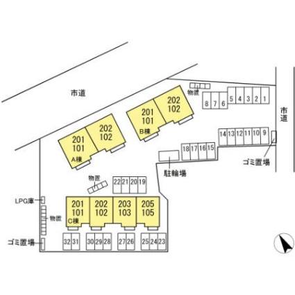 青森県八戸市長者1丁目[1LDK/48.67m2]の配置図