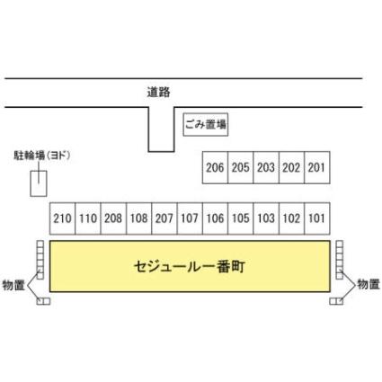 セジュール一番町[1K/26.9m2]の配置図
