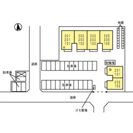 青森県八戸市沼館2丁目[2LDK/60.57m2]の配置図