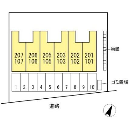 コモンライフ臥木河原[1K/32.07m2]の配置図